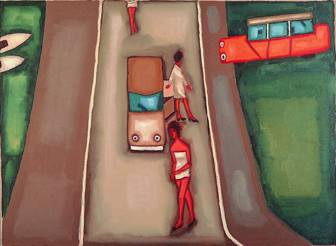 Pejzaż z autami [ Widok na drogę ] 1965