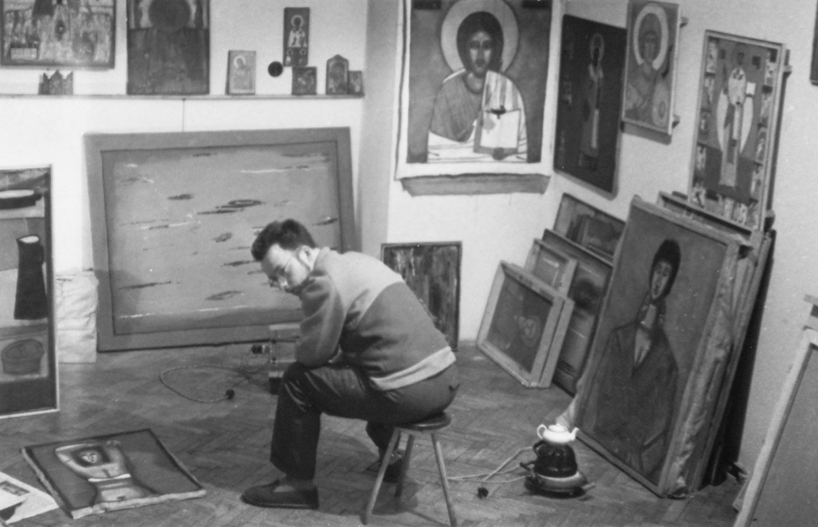 W pracowni, pocz. 1987