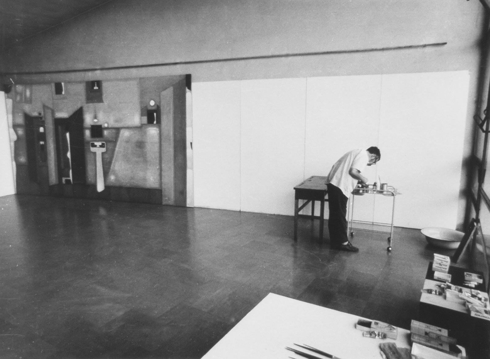 Przy pracy nad obrazem Villa dei misteri, VII 1975